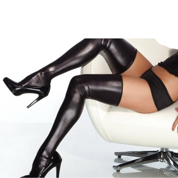 Comeondear Womens Секси Faux Leather Stocking Solid Knee Long Stocking Vinly Stock Секси Thigh High Wet Look Stocking R7371