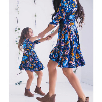 Рокли За Мама И Дъщеря New 2019 Family Matching Summer Dress Half Sleeve Floral Printed Dress Family Matching Outfits Сарафан