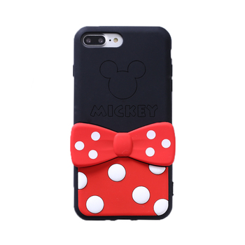 За iPhone 11 pro max case мек силиконов калъф за iPhone XS Max cartoon cover пр XR 7/8 plus 6 6splus bowknot kickstand animal strap