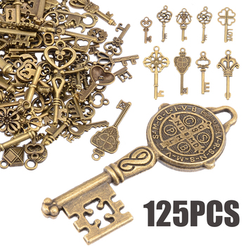 125pcs/set Antique Vintage Old Look Bronze Skeleton Keys Present gift Fancy Сърце Bow Party Доставки САМ Jewerly Pendant Decor