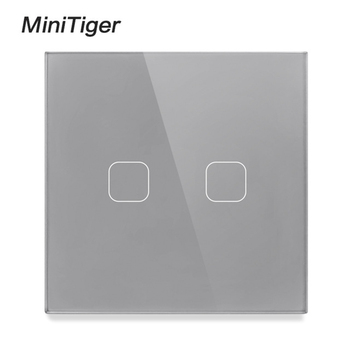 Minitiger EU/UK Universal Wall Light Touch Switch Crystal Glass Panel Switch 2 Gang 1 Way Waterproof Only Touch Control