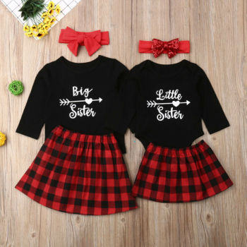 Коледа 3PCS Big Little Sister Matching Outfit върховете тениска Baby Girl Гащеризон+пола+лента за глава Party Baby Clothing Set