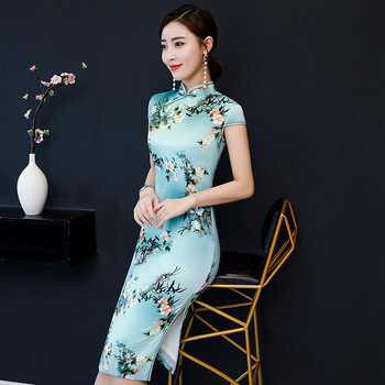 Плюс размер 4XL Рокля Dress Silk Qipao Slim Рокли Шарени Print Chinese Retro Knee-length Dress Young Girls daily qipao